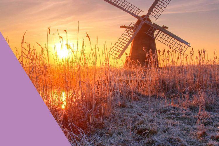 Wuffolk windmill at sunset