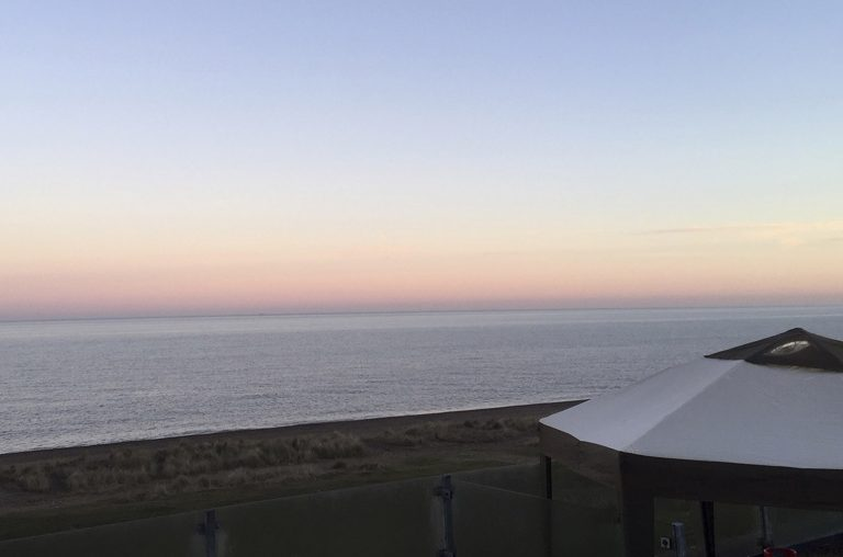 Pink sunset over the sea