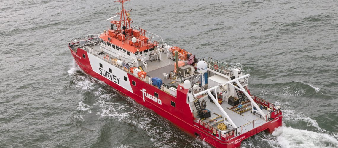 FF91937 The Fugro Mercator is a survey vessel of modern catamaran design which is fully equipped for bathymetric, geophysical surveys, and cable and pipeline route surveys. Fugro Mercator